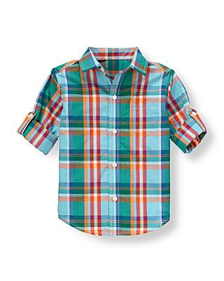 Sky Blue Plaid Plaid Roll Cuff Shirt at JanieandJack