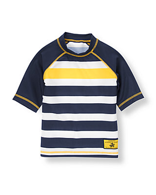 Dark Navy/Yellow Stripe Stripe Rash Guard at JanieandJack