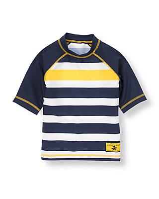 Dark Navy/Yellow Stripe Stripe Rash Guard at JanieandJack