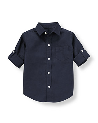 Classic Navy Linen Roll Cuff Shirt at JanieandJack