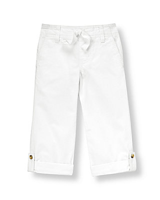 Pure White Roll Cuff Canvas Pant at JanieandJack