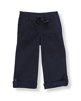 Classic Navy Roll Cuff Canvas Pant at JanieandJack