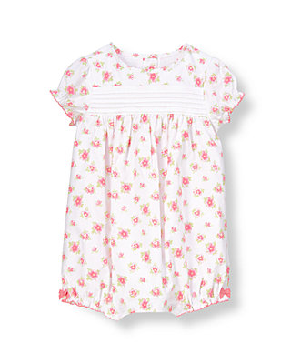 Baby Girl Pink Pansy Floral Pintucked Bubble at JanieandJack