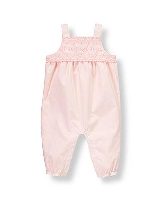 Butterfly Pink Lace Bib Poplin Overall at JanieandJack