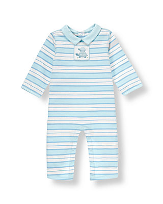 Baby Boy Turtle Blue Stripe Turtle Stripe One-Piece at JanieandJack