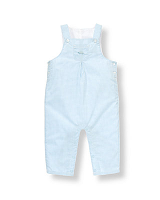 Turtle Blue Gingham Turtle Gingham Overall at JanieandJack