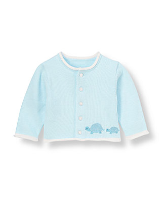 Baby Boy Turtle Blue Turtle Cardigan at JanieandJack