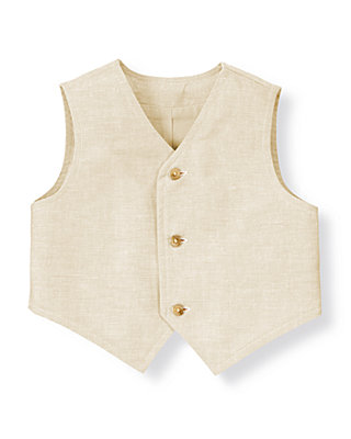 Baby Boy Heathered Khaki Linen Blend Suit Vest at JanieandJack