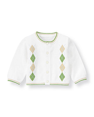 Baby Boy Pure White Argyle Sweater Cardigan at JanieandJack