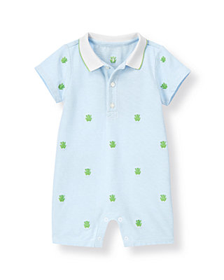 Baby Boy Pond Blue Frog Embroidered Polo One-Piece at JanieandJack