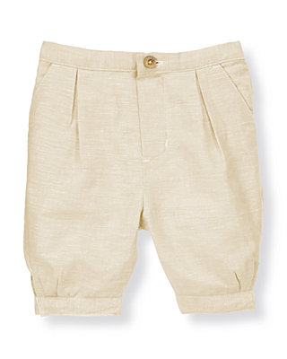 Heathered Khaki Linen Blend Suit Knicker at JanieandJack