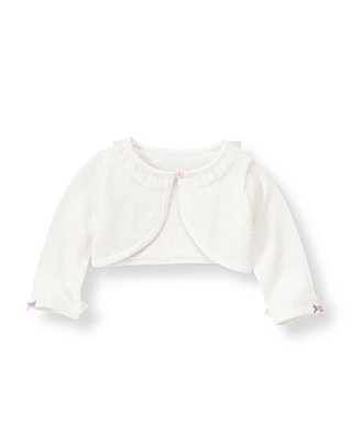 Pure White Tulle Crop Cardigan at JanieandJack
