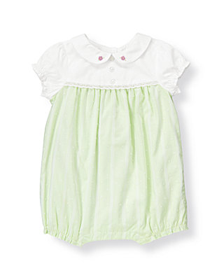 Baby Girl Pastel Mint Swiss Dot Stripe One-Piece at JanieandJack