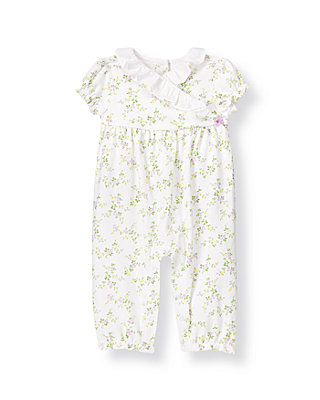 Baby Girl Pure White/Purple Floral Vine Floral Kimono One-Piece at JanieandJack