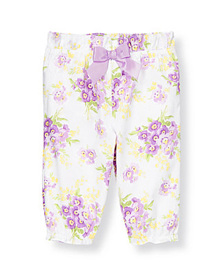 Baby Girl Purple Pansy Bow Stripe Dobby Floral Pant at JanieandJack