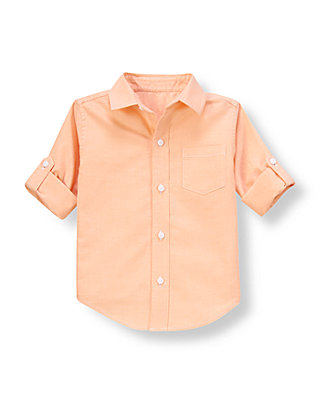 Orange Sorbet Oxford Roll Cuff Shirt at JanieandJack