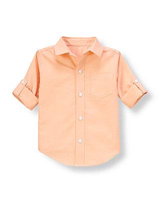 Orange Sorbet Oxford Roll Cuff Shirt at JanieandJack