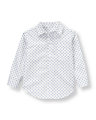 White/Nautical Blue Dot Dot Poplin Shirt at JanieandJack