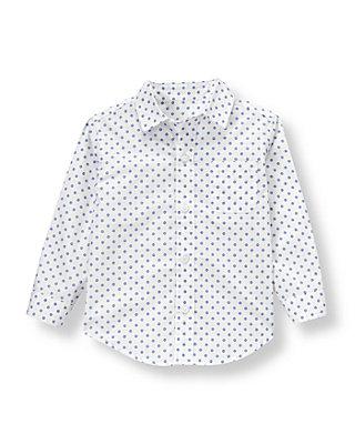 White/Nautical Blue Dot Dot Poplin Shirt at JanieandJack