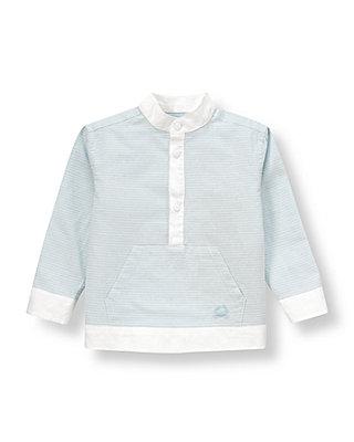 Hazy Blue Stripe Stripe Linen Blend Pullover Shirt at JanieandJack