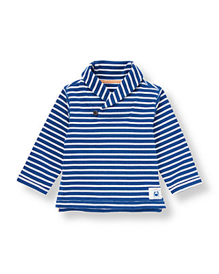 Nautical Blue Stripe Stripe Shawl Collar Pullover at JanieandJack