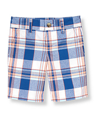 Seaside Blue Plaid Plaid Canvas Short at JanieandJack