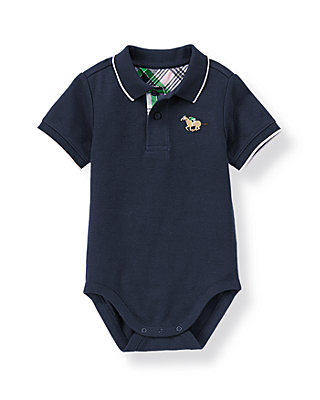Classic Navy Horse Jockey Pique Polo Bodysuit at JanieandJack