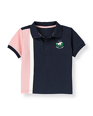 Classic Navy/Pink Colorblock Pique Polo Shirt at JanieandJack