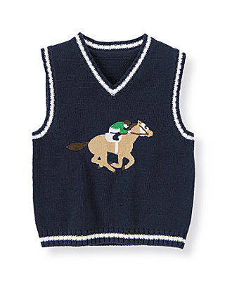 Classic Navy Horse Jockey Sweater Vest at JanieandJack
