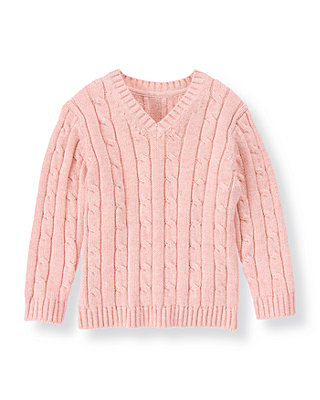 Classic Pink Cable Sweater at JanieandJack