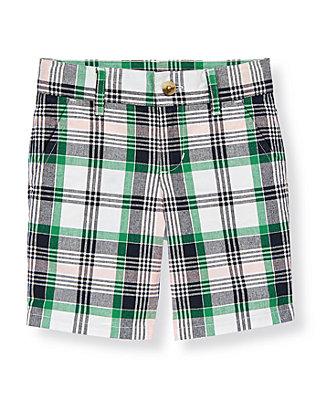 Boys Classic Navy Plaid Madras Plaid Short at JanieandJack