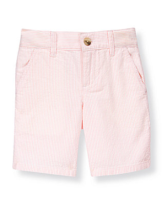 Boys Light Pink Stripe Stripe Seersucker Short at JanieandJack
