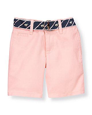 Boys Classic Pink Belted Linen Blend Short at JanieandJack