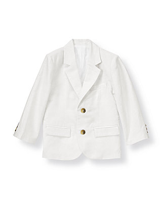 Pure White Linen Blend Blazer at JanieandJack