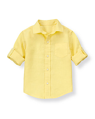 Lemon Yellow Linen Roll Cuff Shirt at JanieandJack