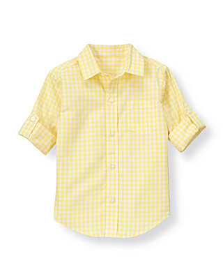 Lemon Yellow Gingham Gingham Roll Cuff Shirt at JanieandJack