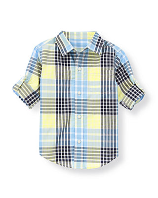 Shoreline Blue Plaid Plaid Roll Cuff Shirt at JanieandJack