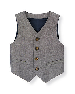 Chambray Chambray Suit Vest at JanieandJack