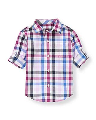 Purple Gingham Gingham Roll Cuff Shirt at JanieandJack