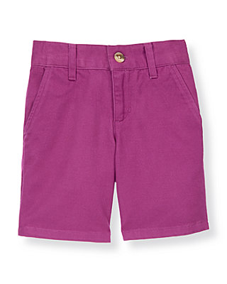 Boys Bright Purple Twill Short at JanieandJack