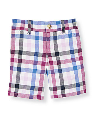 Boys Purple Gingham Gingham Canvas Short at JanieandJack