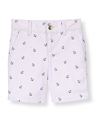 Boys Lavender Stripe Anchor Stripe Canvas Short at JanieandJack