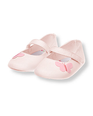 Pale Pink Butterfly Crib Shoe at JanieandJack