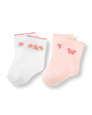 Baby Girl Pure White/Butterfly Pink Butterfly Floral Sock Two-Pack at JanieandJack
