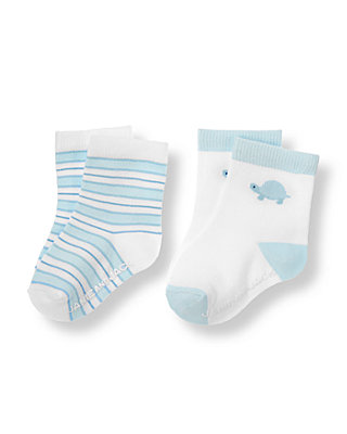 Baby Boy White/Turtle Blue Turtle Stripe Sock Two-Pack at JanieandJack