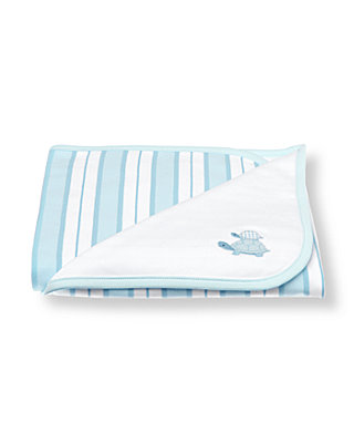 White/Turtle Blue Turtle Stripe Blanket at JanieandJack