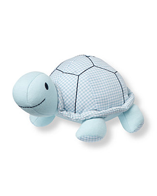 Turtle Blue Gingham Turtle Rattle at JanieandJack