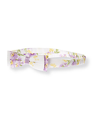 Purple Pansy Bow Floral Dobby Headband at JanieandJack