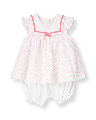 Baby Girl Pink/White Sailor Collar Pindot Skirted One-Piece at JanieandJack