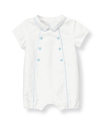Baby Boy Pure White Double Button Linen Blend One-Piece at JanieandJack